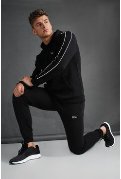Black MAN Skinny Joggers With Reflective Print