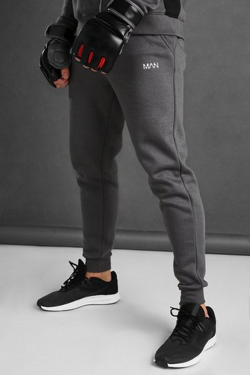 Charcoal MAN Skinny Fit Joggers With Reflective Print