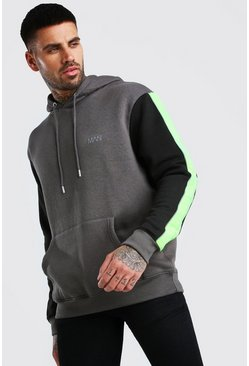Charcoal MAN Hoodie With Contrast Detailing