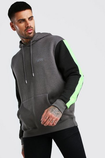 Charcoal MAN Active Hoodie With Contrast Detailing