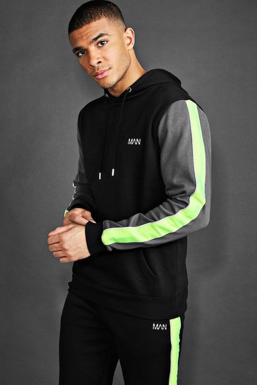 Black MAN Active Hoodie With Contrast Detailing