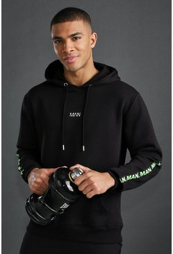 Black MAN Active Hoodie With Tape Detail