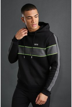 Black MAN Active Panelled Hoodie
