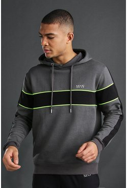 Charcoal MAN Active Panelled Hoodie