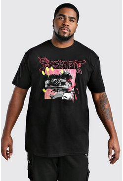Black Big And Tall Samurai Print T-Shirt