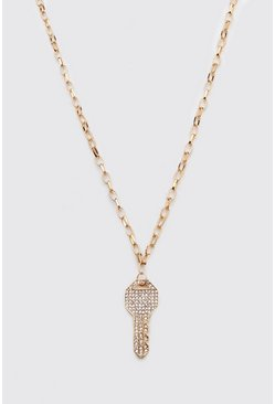 Gold Iced Key Necklace