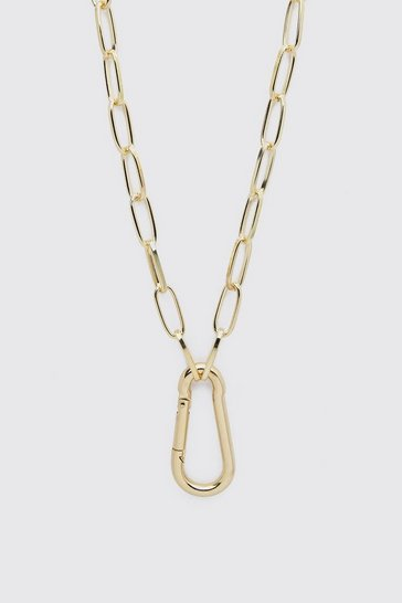 Gold Carabiner Clip Necklace