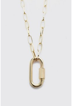 Gold Carabiner Chain Necklace