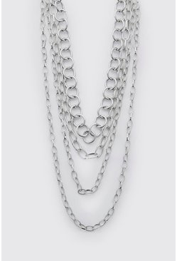 Silver Multi Layer Chain Necklace