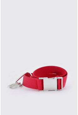 Red Carabiner Clip Release Buckle Belt