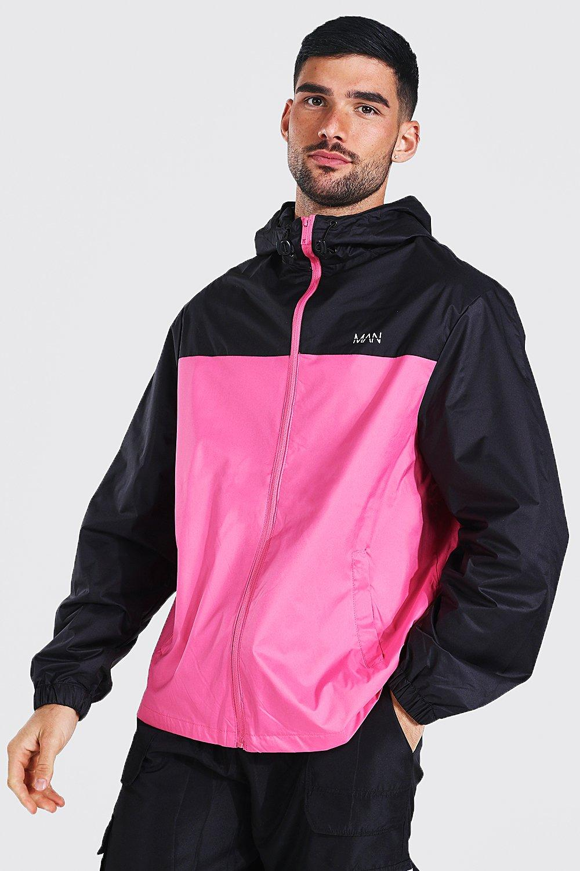 80s Windbreakers, Jackets, Coats | 90s Outerwear Mens Man Dash Contrast Panel Colour Block Cagoule - Pink $18.00 AT vintagedancer.com