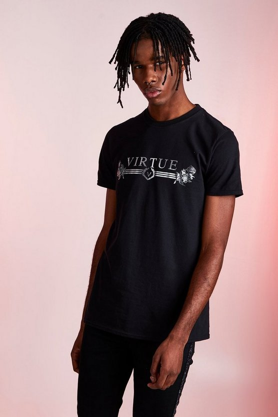 Black Virtue Foil Print T-Shirt