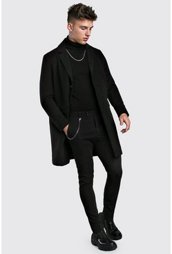 Mens Black Single Breasted Wool Look Overcoat