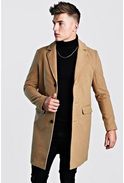 Mens Camel Single Breasted Wool Look Overcoat