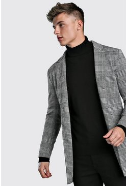 Check Single Breasted Wool Look Overcoat, Grey, HOMMES