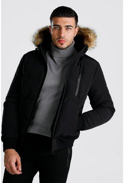 Mens Black Padded Faux Fur Puffer Bomber