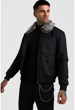 Mens Black Faux Fur Collar 2 Pocket Bomber
