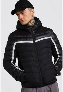 Black Quilted Reflective Jacket With Hood