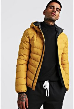 Mens Mustard Quilted Hooded Jacket