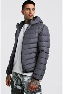 Mens Grey Quilted Hooded Jacket
