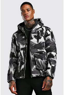 Mens Black Printed Camo Puffer