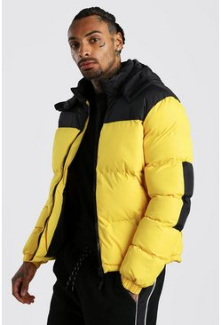 Yellow Colour Block Puffer
