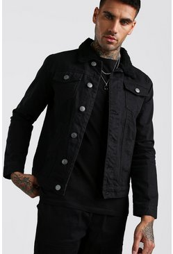 Mens Black Denim Jacket Borg Collar