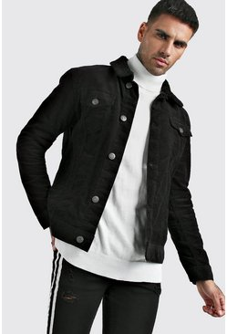 Mens Black Borg Collar Cord Jacket