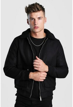 Mens Black Wool Look Bomber Jacket With Borg Collar