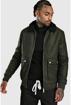 Mens Khaki Wool Look Bomber Jacket With Borg Collar