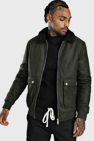 Khaki Wool Look Bomber Jacket With Borg Collar