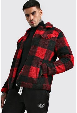 Mens Red Check Teddy Faux Fur Harrington