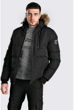 Mens Black Faux Fur Padded Parka
