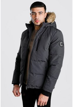 Mens Grey Faux Fur Padded Parka