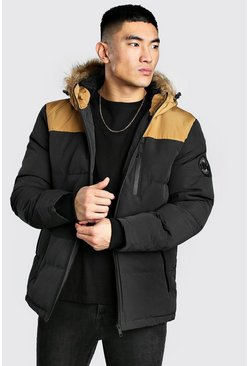 Mustard Colour Block Padded Parka With Faux Fur Hood