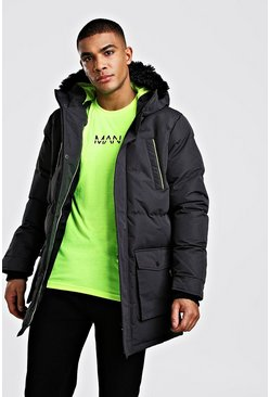 Herr Charcoal Padded Puffer Parka With Fur Hood Neon Trims