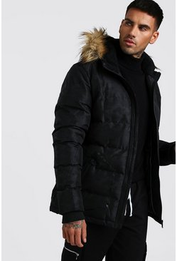 Mens Black Fur Hooded Camo Padded Parka