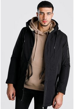 Mens Black Borg Lined Hood Parka