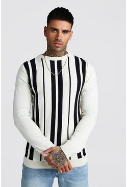 Mens White Knitted Long Sleeve Stripe Jumper