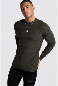 Mens Khaki Waffle Stitch Muscle Fit Crew Neck Jumper