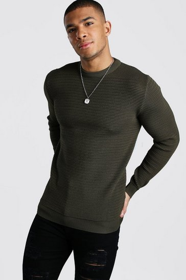Khaki Waffle Stitch Muscle Fit Crew Neck Jumper
