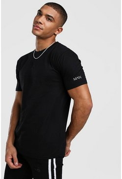 Mens Black Original MAN Sleeve Print T-Shirt