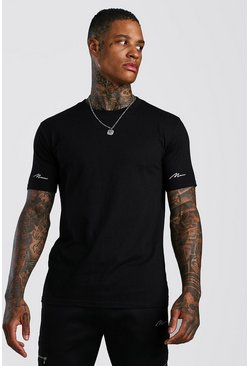 Black MAN Signature Double Sleeve Print T-Shirt