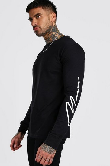 Black MAN Signature Sleeve Print Long Sleeve T-Shirt