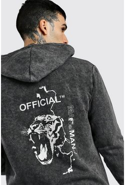 Black Official MAN Animal Back Print Acid Wash Hoodie