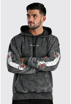 Black Oversized Sleeve Print Hoodie In Acid Wash