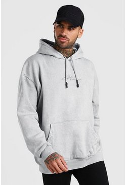 Light grey Oversized MAN Signature Hoodie In Acid Wash