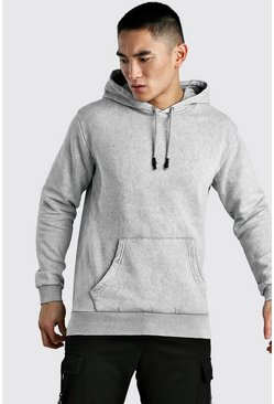 Light grey Hoodie In Acid Wash