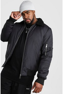 Black Big And Tall Borg MA1 Bomber