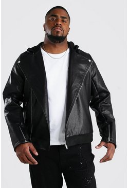 Black Big And Tall Faux Leather Biker